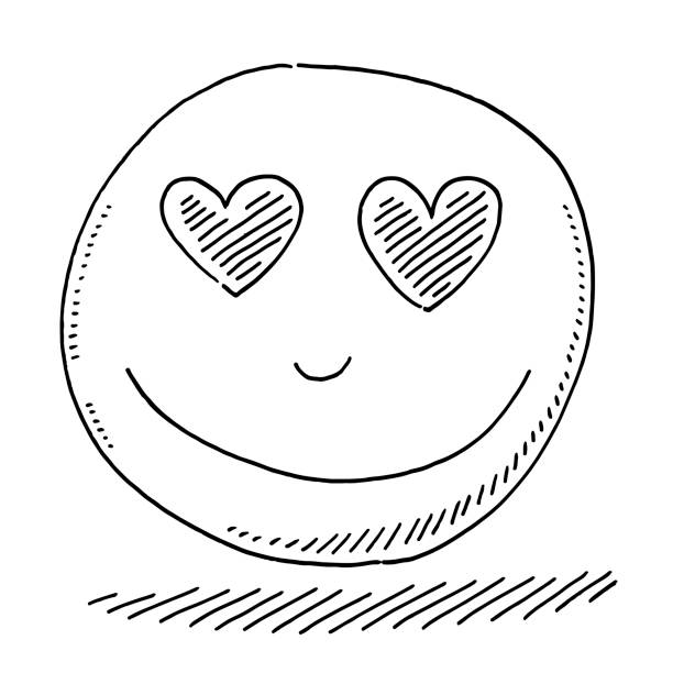 Love Heart Eyes Smiley Icon Drawing vector art illustration
