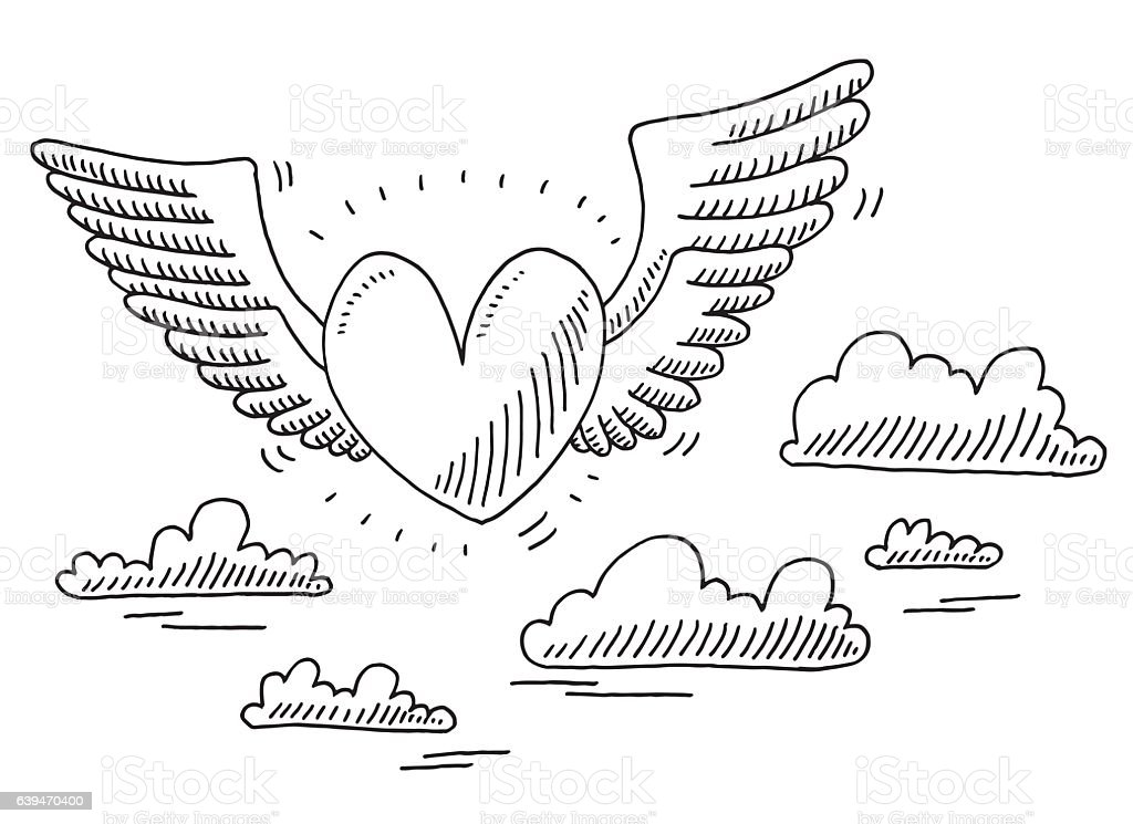 Love Heart Flying In The Air Drawing vector art illustration