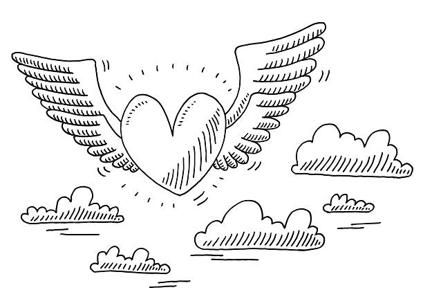 Love Heart Flying In The Air Drawing Hand-drawn vector drawing of a Love Heart Flying In The Air. Black-and-White sketch on a transparent background (.eps-file). Included files are EPS (v10) and Hi-Res JPG. celebration stock illustrations