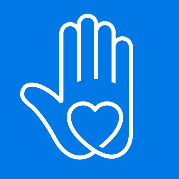 Love Heart in Hand Icon vector art illustration