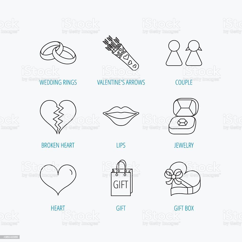 amor cora��o, kiss e alian�as de casamento e �cones de clipart  vetores de  amor