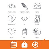 istock Love heart, kiss and wedding rings icons. 657750784