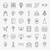 Love Heart Line Icons Set