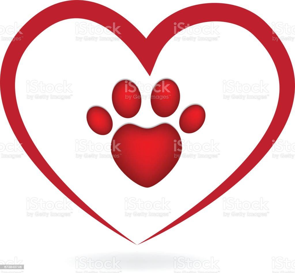 Download Love Heart Paw Print Logo Stock Illustration - Download ...
