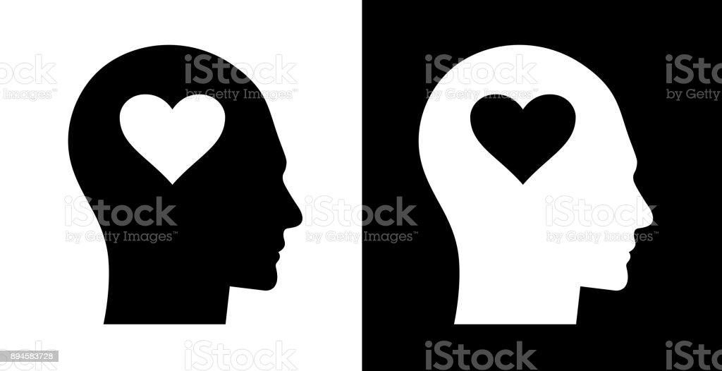 Love Heart Shape Human Face Profile vector art illustration