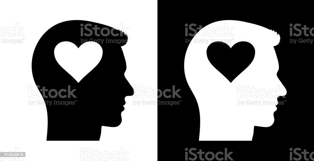 Love Heart Shape Human Face Profile Royalty Free Stock