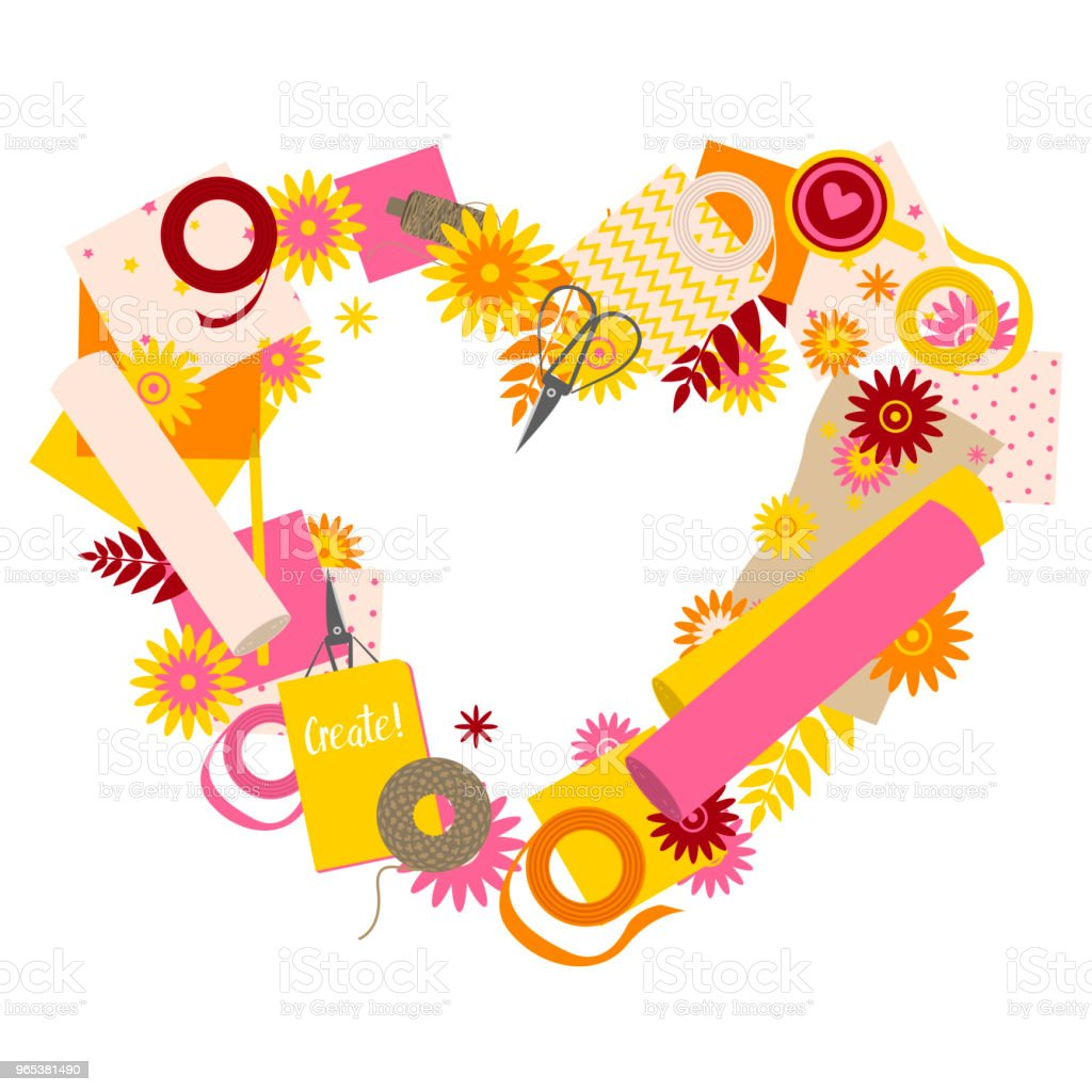 Love heart shape with scrapbooking tools royalty-free love heart shape with scrapbooking tools stock vector art & more images of camera - photographic equipment