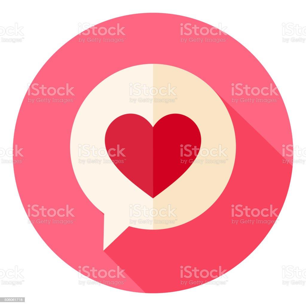 Amour coeur Bulle de dialogue Icône cercle avec long ombre - Illustration vectorielle