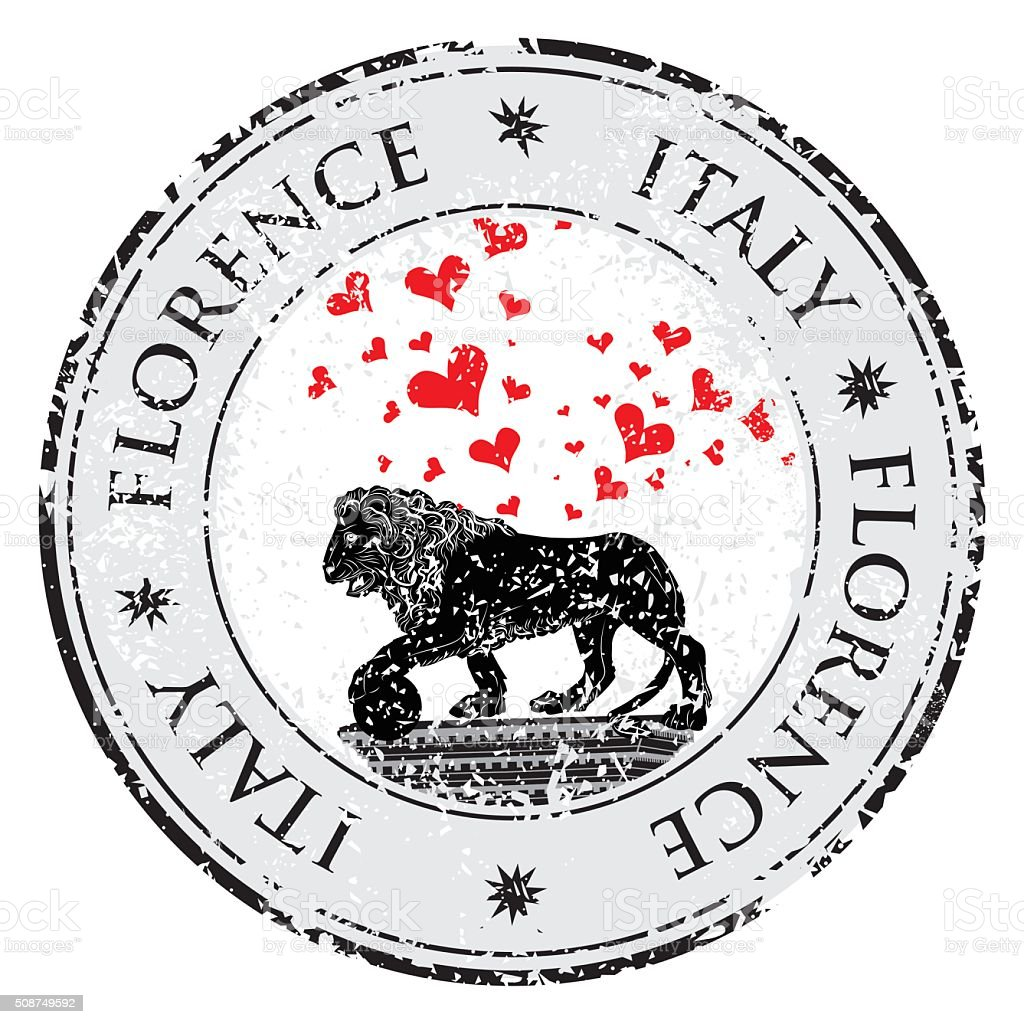 Love heart travel destination grunge rubber stamp of symbol Florence vector art illustration