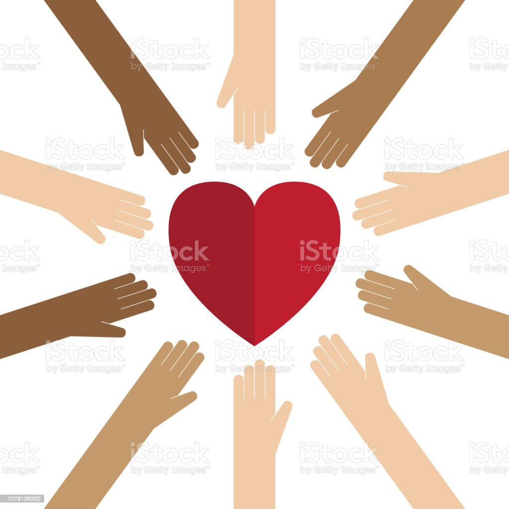 Love heart Hand, Multi-Ethnic Group, Heart Shape, Circle, Conceptual Symbol Abstract stock vector