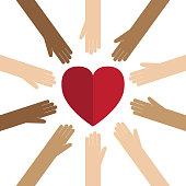 Hand, Multi-Ethnic Group, Heart Shape, Circle, Conceptual Symbol