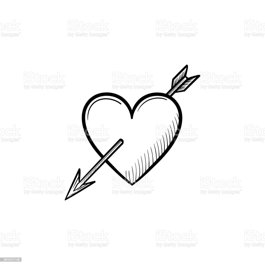 Love Heart With Cupid Arrow Hand Drawn Sketch Icon Stock Vector Art U0026 More Images Of Aiming ...