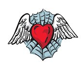 Love Heart With Wing Trapped On A Spider Web Illustration