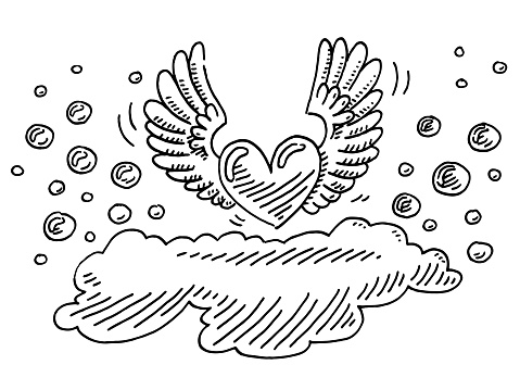 Love Heart With Wings Drawing