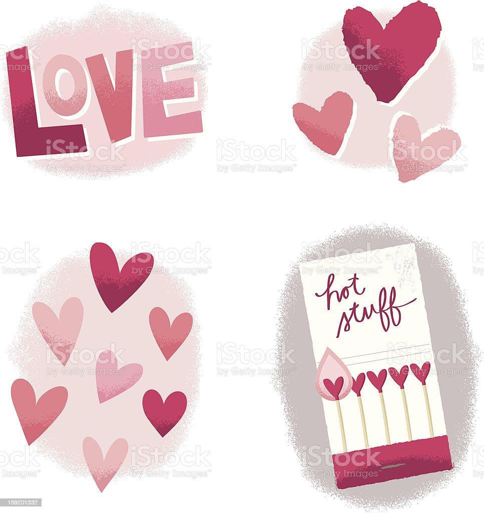 Love, Hearts, and Hot Stuff Retro Elements royalty-free stock vector art