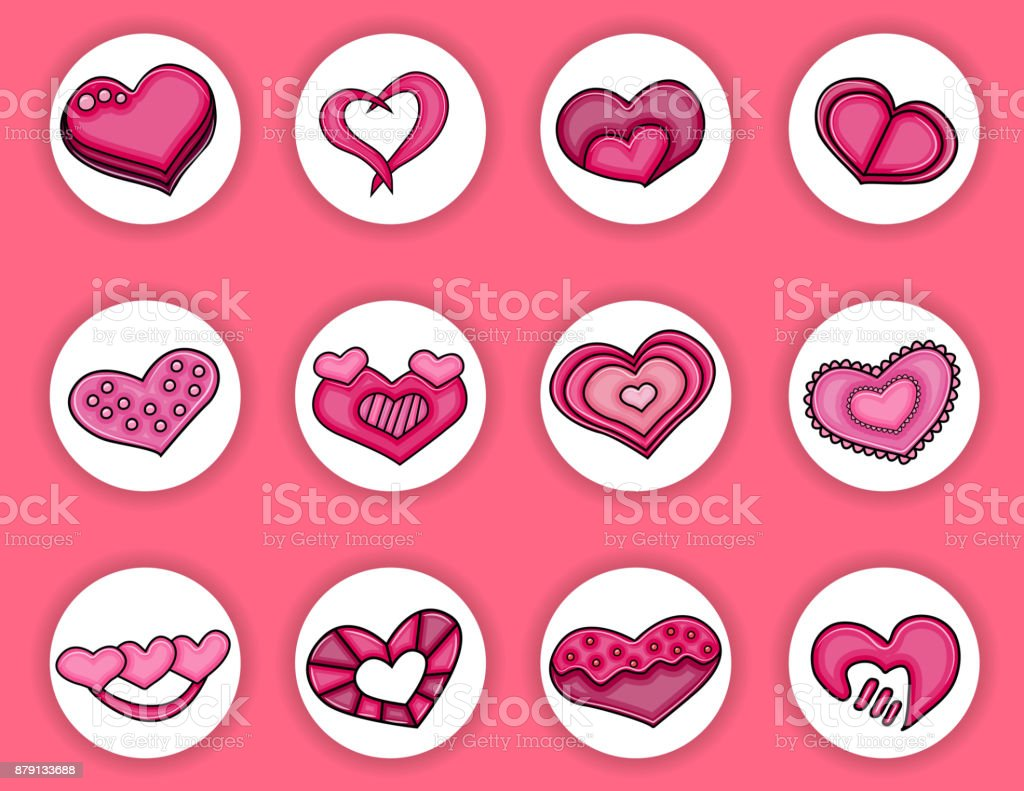 love hearts hand drawn cartoon sweet elements valentines day concept
