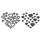 Love hearts shape line and solid icon. Frame of hearts illustration isolated on white. Frame of many hearts valentines day outline style design, designed for web and app. Eps 10