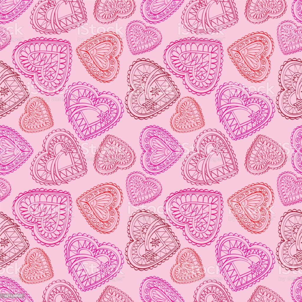 Love Hearts Vintage Stylish Textured Wallpaper Stock