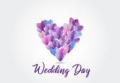 Watercolor love hearts symbol icon logo d card vector image graphic design