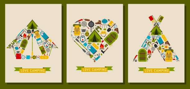 Love Hiking and Camping Print Cards vector art illustration