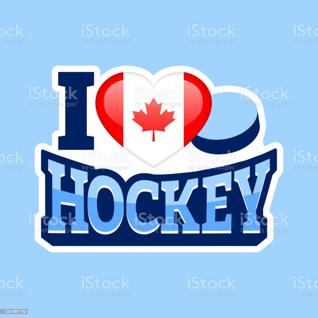 I Love Hockey Vector Poster Canada National Flag Heart Symbol In A