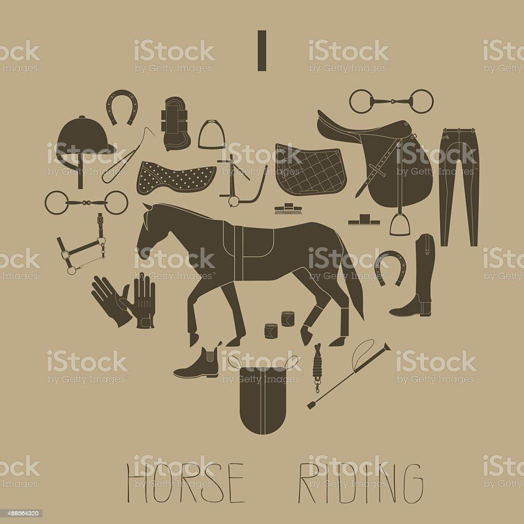 I love horse riding vector art illustration