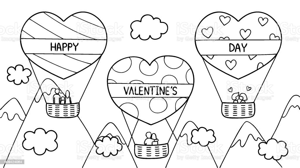 Hand drawn of couples and family spending good time on hearted shape...