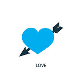 Love icon. Logo element illustration. Love symbol design from 2 colored collection. Simple Love concept. Can be used in web and mobile.