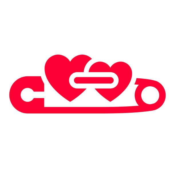 liebe-symbol oder valentinstag zeichen zur feier - hochzeitsanstecker stock-grafiken, -clipart, -cartoons und -symbole