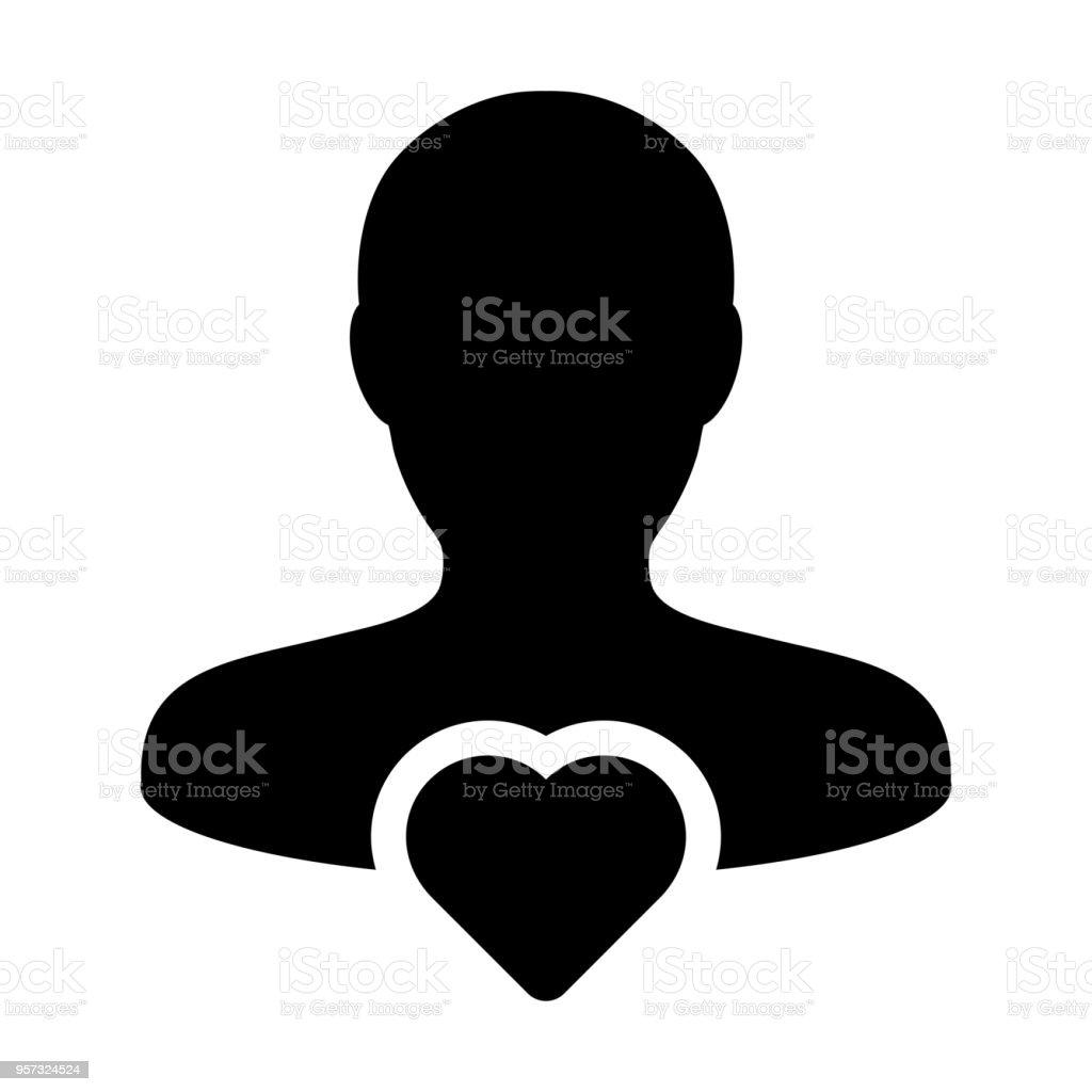 Love Icon Vector Male User Person Profile Avatar Symbol In Flat