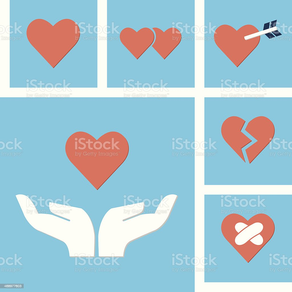 Love icon with hands vector art illustration