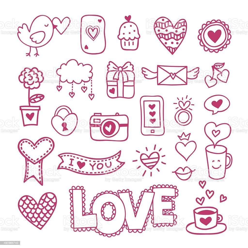 Love Icons And Symbols Hand Drawn Doodles Wedding And Valentines Day