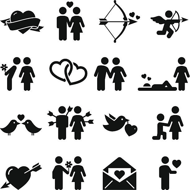 Love Icons - Black Series Love and valentine icon set. Vector icons for video, mobile apps, Web sites and print projects. See more in this series.  love at first sight stock illustrations