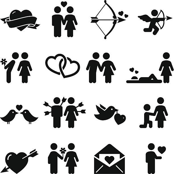 stockillustraties, clipart, cartoons en iconen met love icons - black series - kussen met de mond