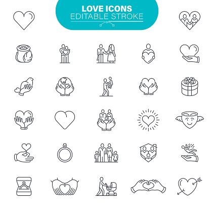 Love Icons. Set contains such icon as Heart Shape, Human Hand, Care