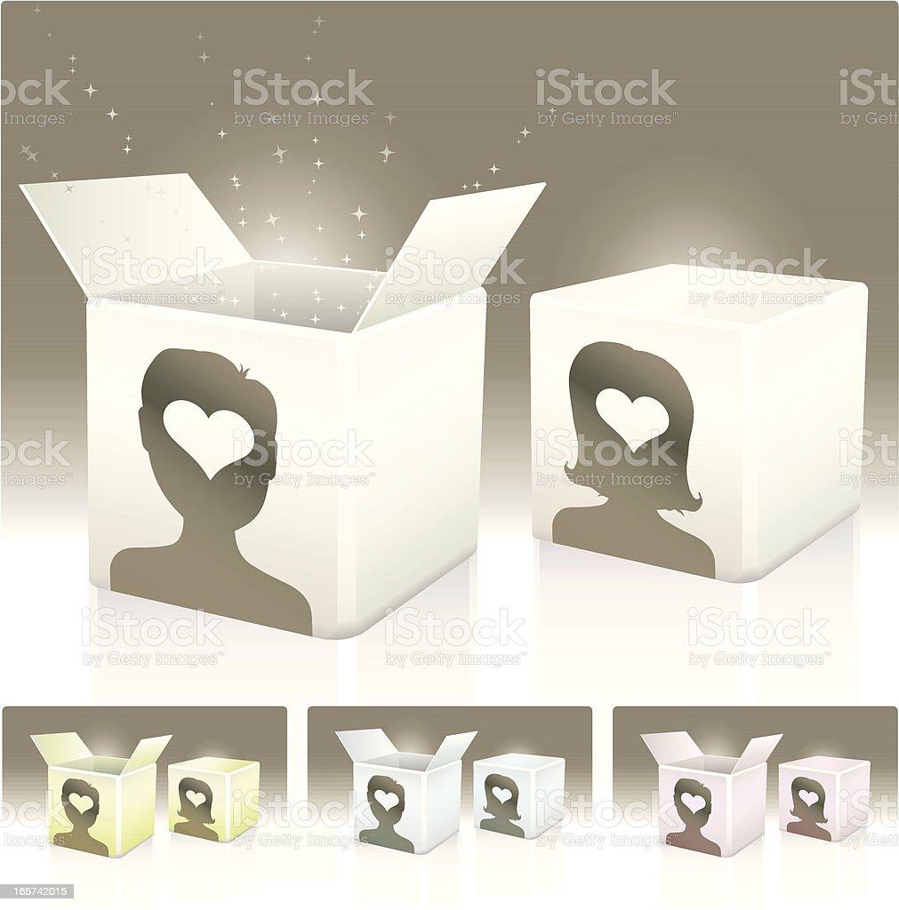 Love in a box vector art illustration