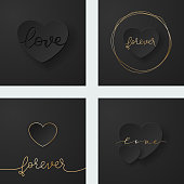 A set of simple Valentine's cards. Single heart on a dark, black background with gold detail. Design element for greeting cards, invitations, anniversaries...  EPS10 vector illustration, global colors, easy to modify.