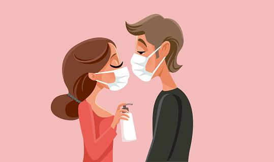 Love in Quarantine Pandemic Times Vector Illustration
