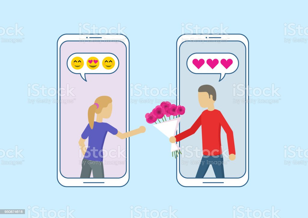 Love in social network. Online dating app relationship. Man gives a woman a bouquet of flowers. vector art illustration