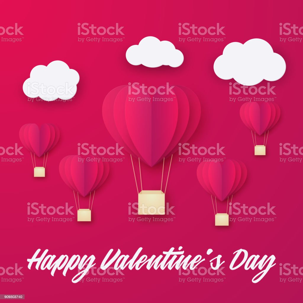 Liebe Einladung Karte Valentinstag Ballons Herz Stock Vektor Art Und