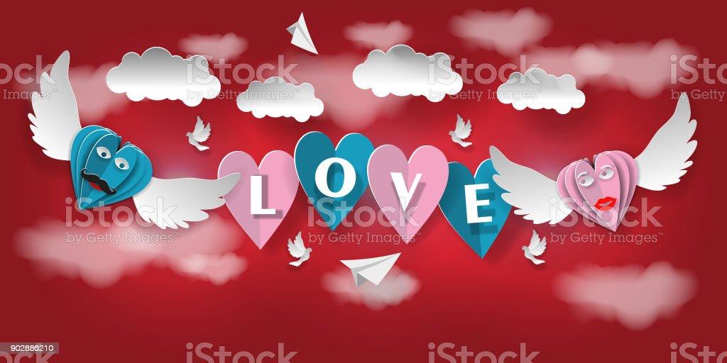 Ilustracion De Invitacion De Amor De San Valentin Tarjeta Corazones