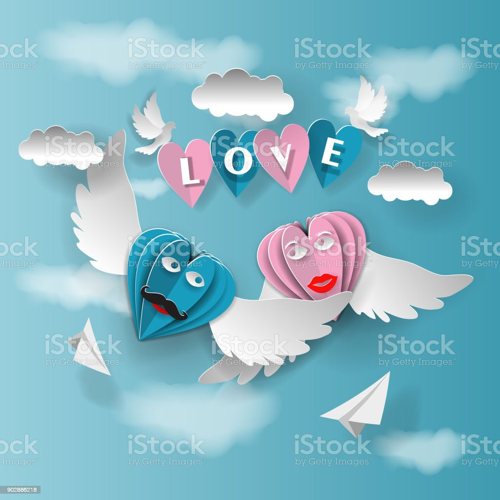 love invitation card Valentine's Day hearts on an abstract background with the text of love and clouds, pigeons, paper cut pink and blue heart. Vector illustration.