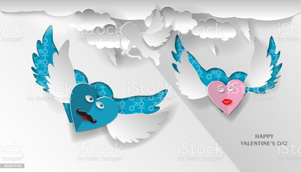love invitation card Valentine's Day hearts on an abstract background with the text of love and clouds, cupid, paper cut pink and blue heart. Vector illustration.