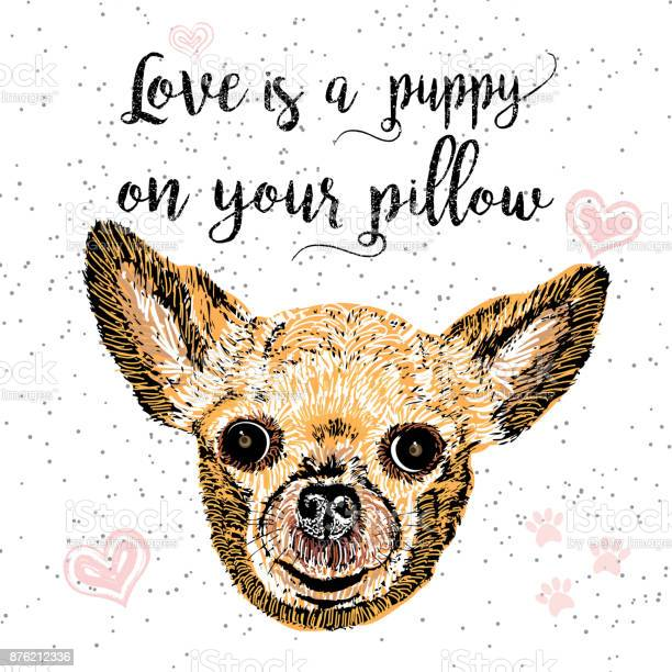 Love is a puppy on your pillow drawn card and lettering calligraphy vector id876212336?b=1&k=6&m=876212336&s=612x612&h=dseupnfeyfpwfq500t9gsj2vgb yoinsyvk2itarlio=