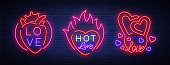 Love is a set of symbols. Collection of neon signs on the theme of Valentine s Day. Flaming banner for greetings, leaflet, flyer. Bright night neon advertisement for the day of lovers. Vector