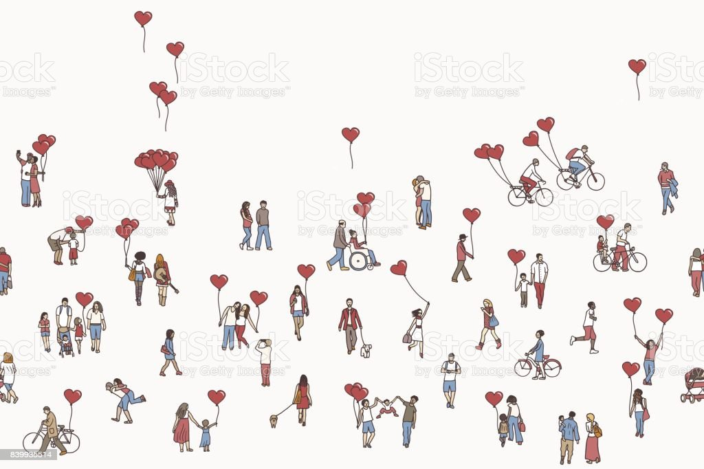 Love is all around - illustration of tiny people holding heart shaped balloons vector art illustration