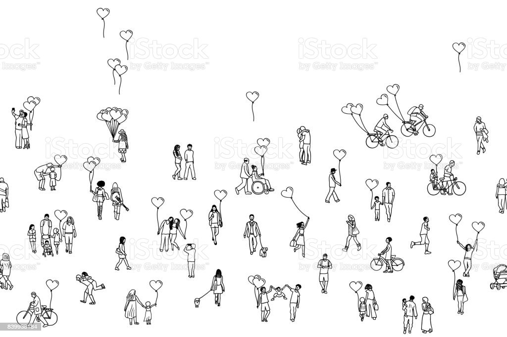 Love is all around - illustration of tiny people holding heart shaped balloons royalty-free love is all around illustration of tiny people holding heart shaped balloons stock illustration - download image now