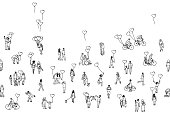A diverse collection of small hand drawn men, women and kids. Seamless banner, can be tiled horizontally