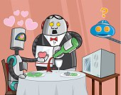 """This is a vector illustration of a young robot who proves the theory of """"love is blind"""" by falling for a microwave, to the amazement of the staff and guests at the restaurant."""