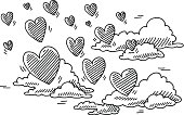 Hand-drawn vector drawing of a some Flying Hearts and Clouds. Love Is In The Air Concept Image. Black-and-White sketch on a transparent background (.eps-file). Included files are EPS (v10) and Hi-Res JPG.